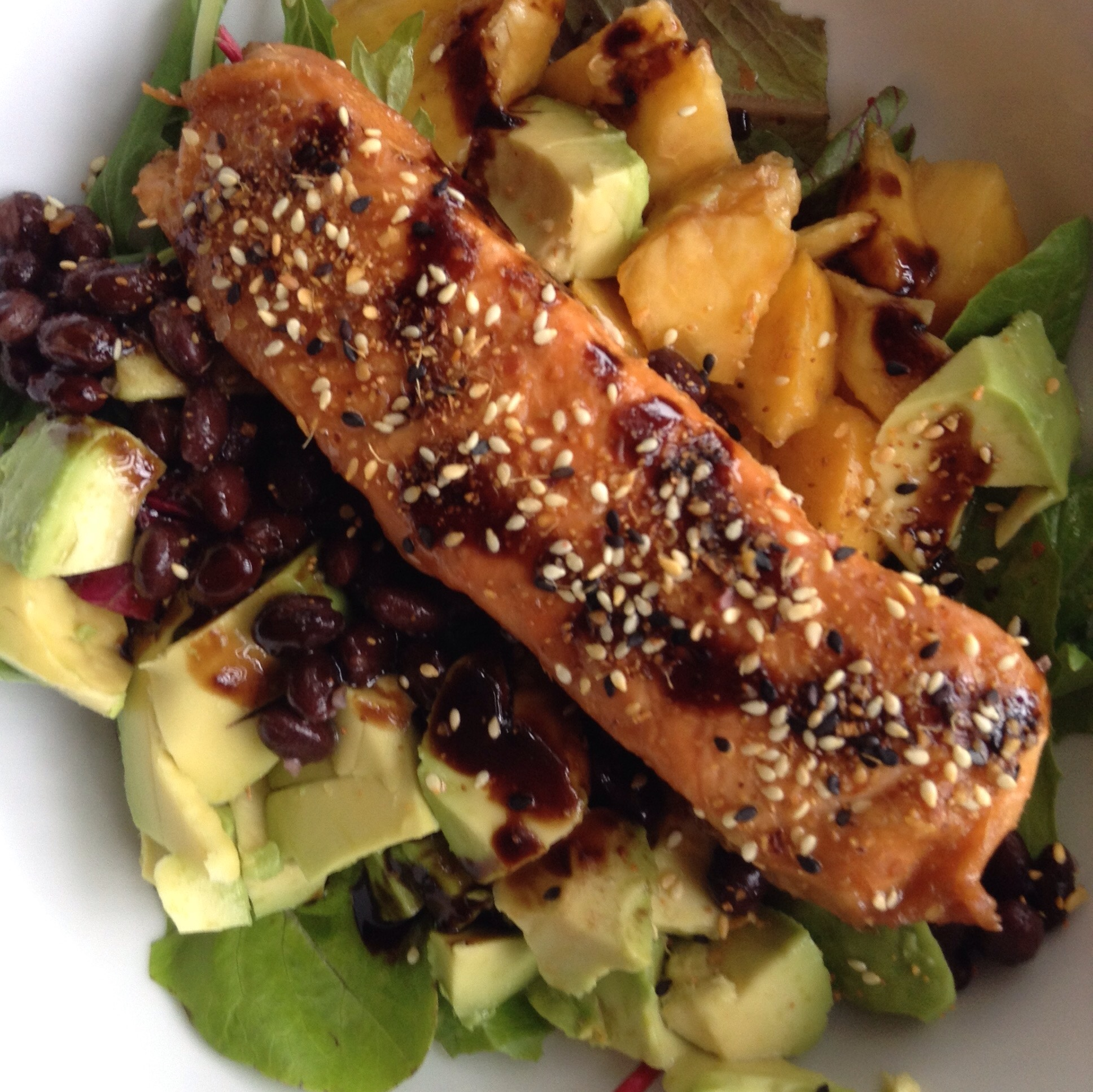 salmon avocado peach salad